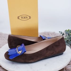 Tod's Suede Safety Pin Fringe Ballerina Flats